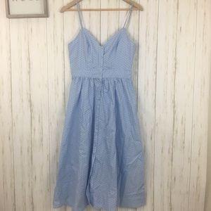 H&M Blue and Black Polka Dot Midi Dress Sz 8
